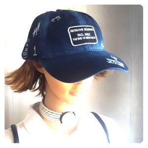 🆕️ Zara Baseball Zap-Back Cap ⛱Dark Denim Fabric